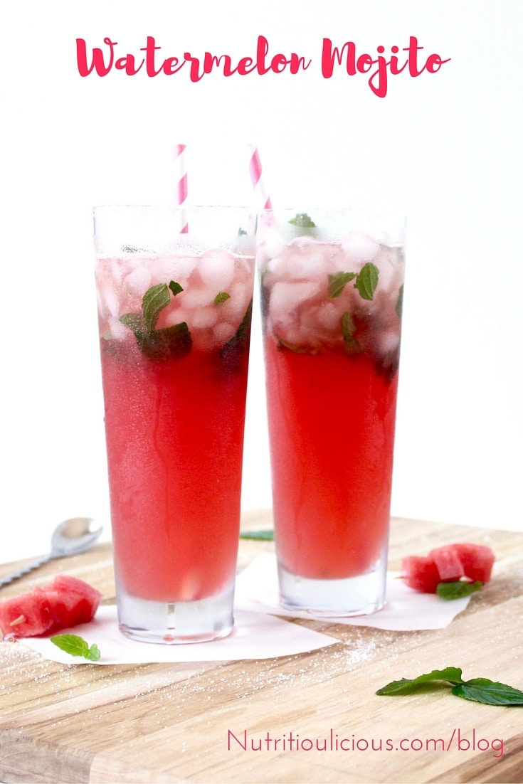 A delightfully refreshing, no-sugar-added Mojito gets a summery twist with the addition of fresh watermelon! @jlevinsonrd