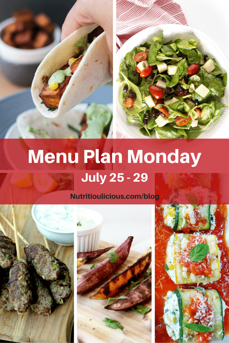 Menu Plan Monday, week of July 25, 2016 including Baked Tofu Tacos with Creamy Cilantro Sauce @sebestyen2, Spinach Salad with Jicama, Black Beans, and Lime Vinaigrette @jlevinsonrd, Lamb Kofta Kebabs @foodiephysician, Grilled Sweet Potato Wedges with Avocado Cream Sauce @LivelyTable, & Zucchini roll ups @italiancook.