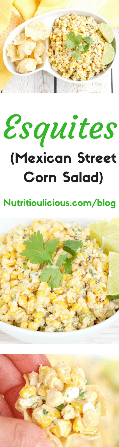 Esquites (Mexican Street Corn Salad)   This lighter version of a classic Mexican street food is made with low-fat plain yogurt instead of mayonnaise to save on calories without sacrificing flavor. Serve as an appetizer with corn chips or as a side dish. Recipe @jlevinsonrd.