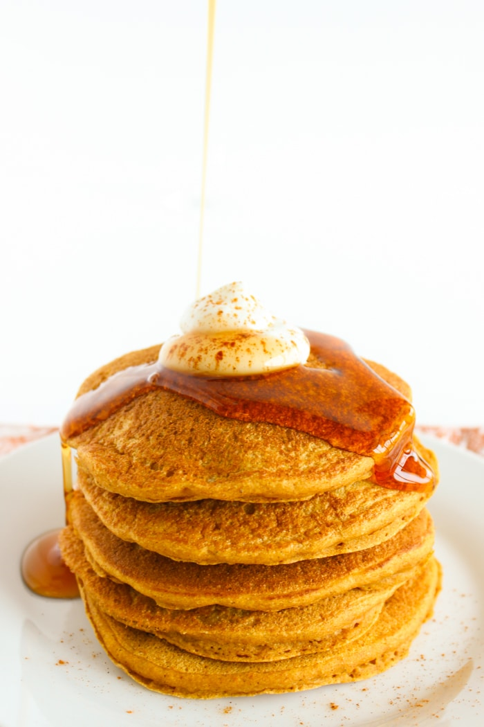 This fall, wake up to a stack of these healthier pumpkin pancakes made with whole grains, aromatic spices, honey, and 100% pure pumpkin puree. Get the vegetarian and nut-free ecipe @jlevinsonrd.