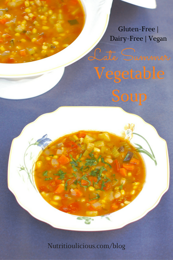 Use the last of summer's bounty of zucchini, tomatoes, and corn to make this hearty vegetable soup brimming with flavor and nutrition. Vegan, Vegetarian, Gluten-Free, and Dairy-Free. Recipe @jlevinsonrd.