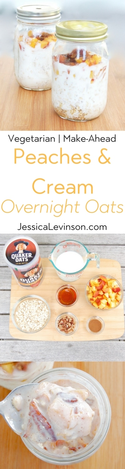 Maple-roasted peaches top creamy kefir-soaked oats in this easy make-ahead Peaches and Cream Overnight Oats breakfast recipe perfect for rushed mornings. Get the vegetarian and kid-friendly recipe @jlevinsonrd.