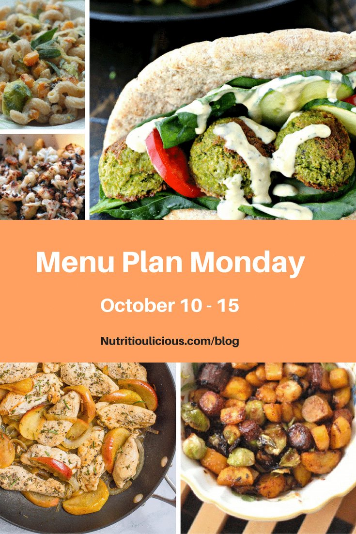 Nutritioulicious Menu Plan Monday week of October 10, 2016 including Sauteed Chicken and Apples with Rosemary @kmdoherty, Rosemary-Roasted Cauliflower with Raisins, Miso-Roasted Root Vegetables, and Butternut Squash and Brussels Sprouts Pasta with Lemon-Sage Ricotta @jlevinsonrd.