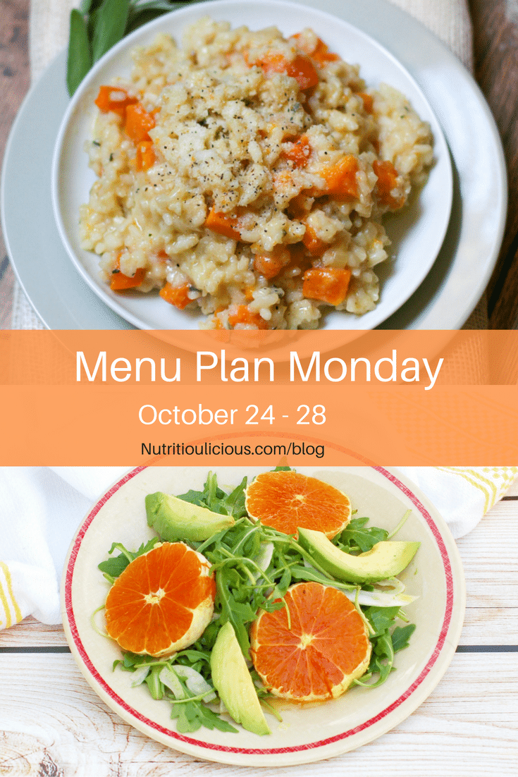 Nutritioulicious Menu Plan Monday week of October 24, 2016 including Sage and Butternut Squash Risotto @erijul and Citrus Fennel Salad @jlevinsonrd.