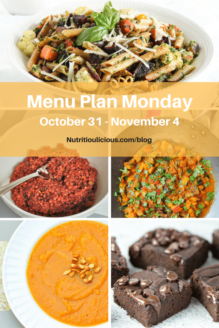 Nutritioulicious Menu Plan Monday week of October 31, 2016 including Fall Roasted Root Vegetable Pasta with Kale Pesto, Cranberry Ginger Sorghum, Butternut Squash and Sweet Potato Soup @jlevinsonrd, Black Bean Avocado Brownies @KrollsKorner, Vegan Red Curry with Freezer Tomato Coconut Sauce @rwallace4.