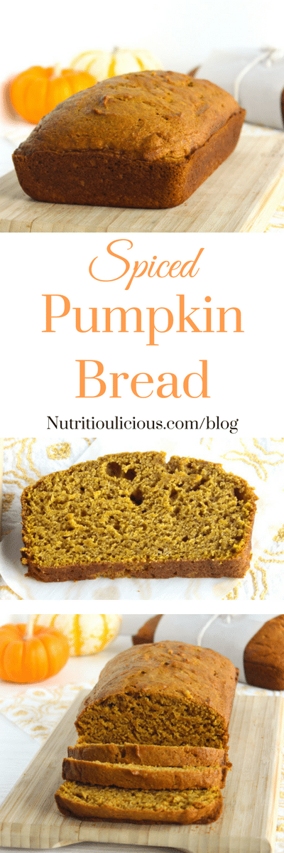Healthier Spiced Pumpkin Bread | Get the essence of fall when you bite into this healthier pumpkin bread, spiced with cloves, cinnamon, nutmeg, and ginger. Recipe @jlevinsonrd.
