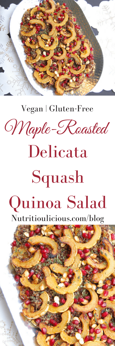 Maple-Roasted Delicata Squash Quinoa Salad | Maple-roasted delicata squash tops cider-infused quinoa and is garnished with thyme and pomegranate seeds in this easy, yet elegant side dish that's perfect for the holidays or any day of the week. Get the vegan and gluten-free recipe @jlevinsonrd.