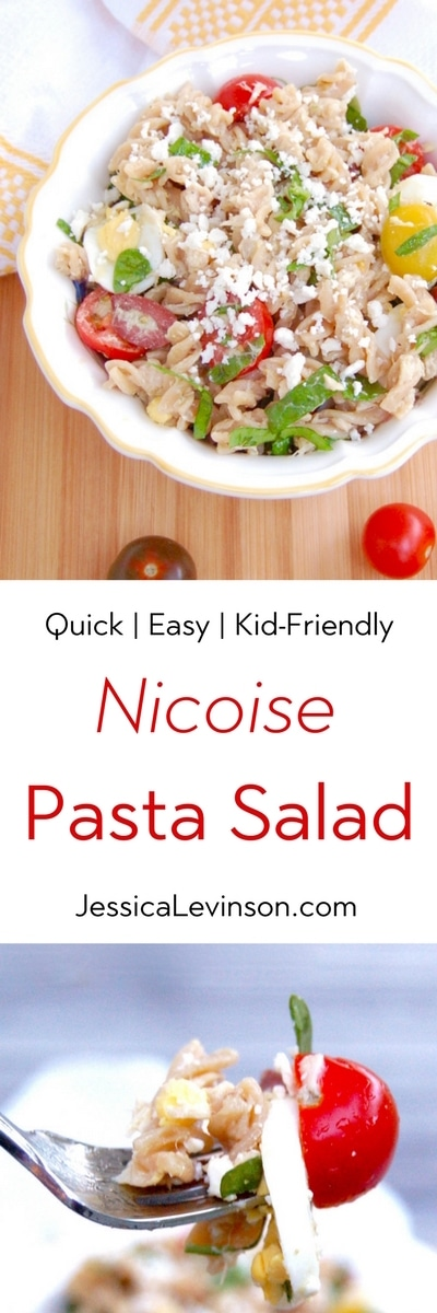 Canned tuna, cherry tomatoes, kalamata olives, hard-boiled eggs, and baby spinach are tossed with whole wheat pasta and a red wine vinaigrette in this quick and easy Nicoise Pasta Salad the whole family will love. Get the recipe @jlevinsonrd.