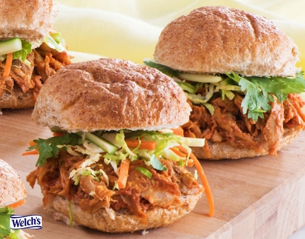 Welch's Korean Style Pulled Chicken Sliders are heart healthy and great inspiration for Welch's Taste the Mighty Concord Recipe Contest!