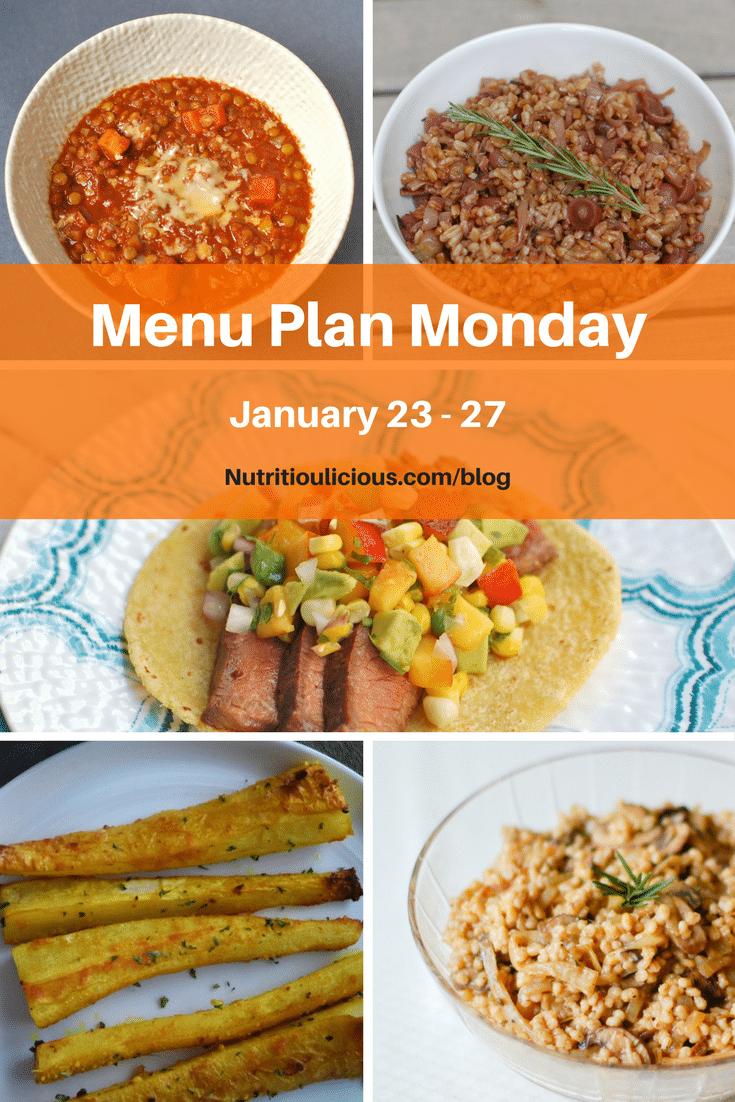 Menu Plan Monday week of January 23, 2017 including Roasted Garlic Turmeric Parsnip Fries @bucketlisttummy, Hearty Lentil Veggie Chili, Grilled Grape Farro Salad, Soy-Marinated Steak, and Mushroom Onion Barley @jlevinsonrd.