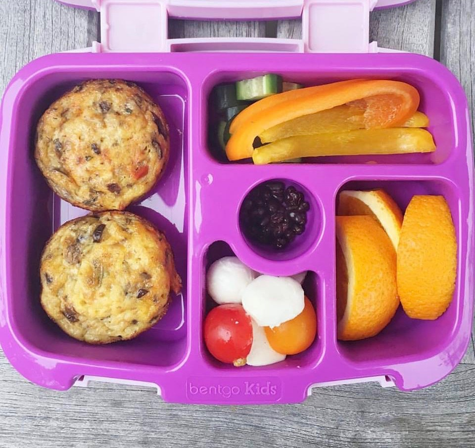 Veggie Egg Muffins are a perfect make-ahead recipe for the school lunchbox. Gluten-free, vegetarian, and vegan-friendly. Get the recipe @jlevinsonrd.