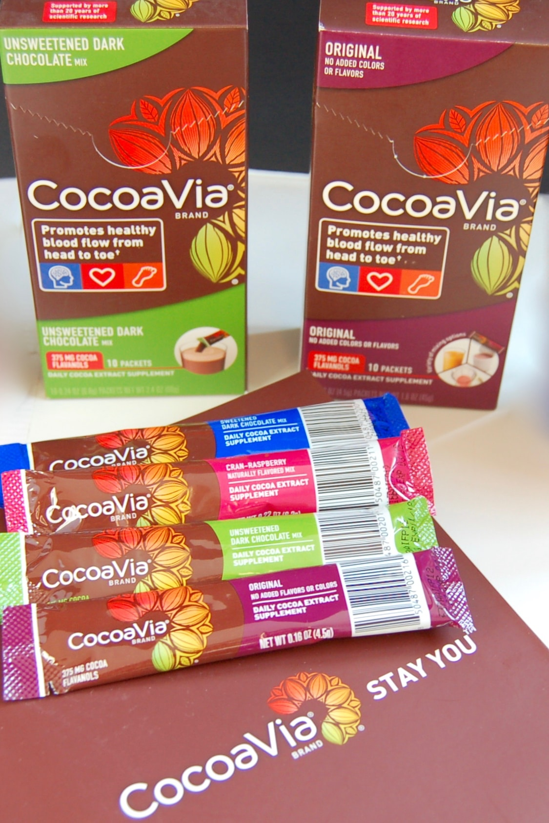 One CocoaVia® powdered stick pack contains 375 mg cocoa flavanols - the beneficial plant-based nutrients found naturally in cocoa.