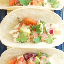 Fish Tacos with Citrus Salsa are a quick and easy, flavor-packed dinner the whole family will enjoy. Get the gluten-free, dairy-free recipe @jlevinsonrd.