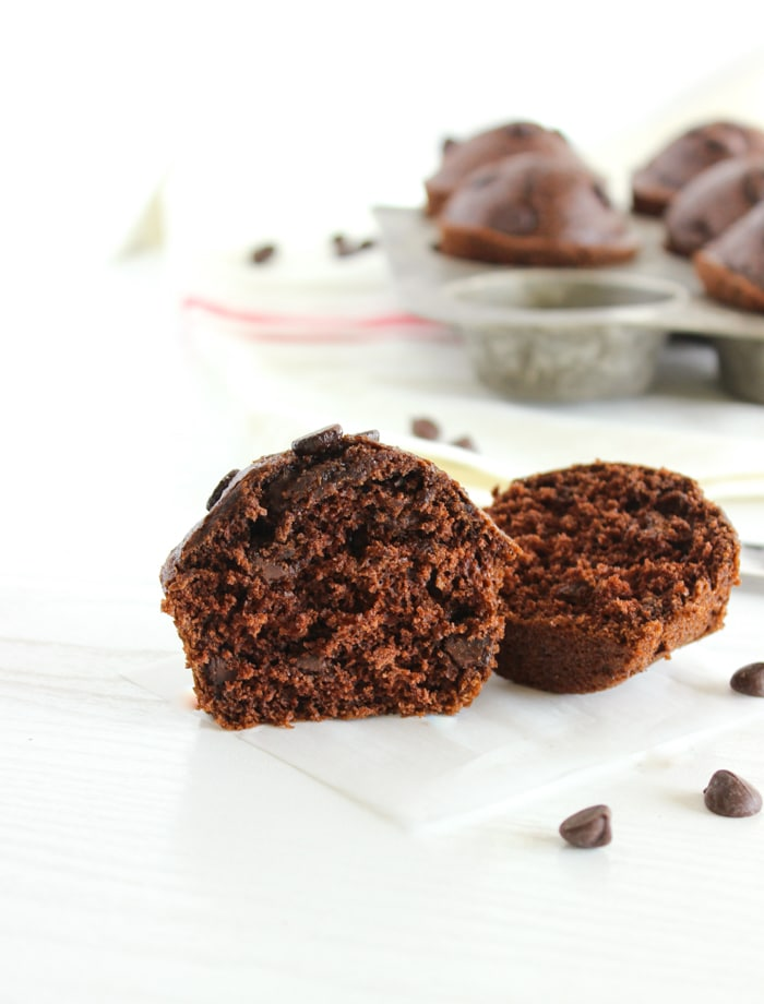Whole Grain Double Chocolate Muffins | Delicious whole grain muffins with a double dose of chocolate that taste sinful but aren't! A great make-ahead breakfast treat or healthier dessert. Get the recipe @jlevinsonrd.