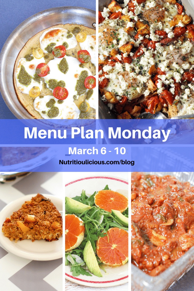 Nutritioulicious Menu Plan Monday week of March 6, 2017, including Baked Eggs with Tomatoes, Feta, and Croutons @Zestfulkitchen, Farinata with Mozzarella, Tomatoes, & Pesto Drizzle, Sun-Dried Tomato, Spinach, and Goat Cheese Baked Oatmeal Frittata, Citrus Fennel Salad, and Homemade Tomato Sauce with Mushrooms @jlevinsonrd.