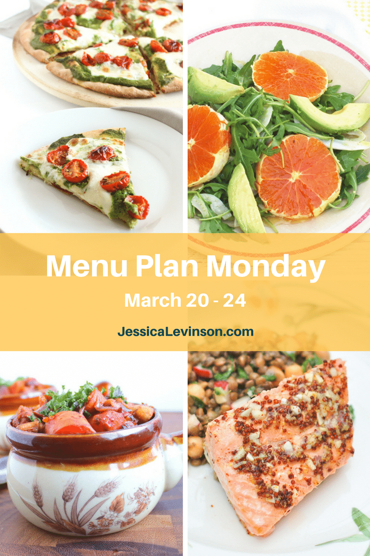 Nutritioulicious Menu Plan Monday week of March 20, 2017, including Vegan Mushroom Tempeh Bourguinon @sinfulnutrition, Rosemary-Roasted Tomato Pesto Pizza, Citrus Fennel Salad, and Orange-Maple Salmon @jlevinsonrd.