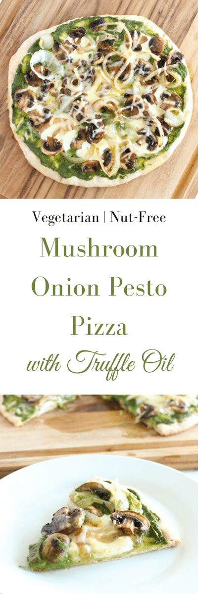 Mushroom Pesto Pizza | Sautéed mushrooms, nut-free kale pesto, fresh mozzarella and a drizzle of truffle oil pair beautifully in this gourmet homemade pizza. Get the vegetarian and nut-free recipe @jlevinsonrd.
