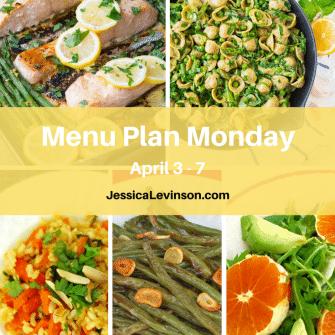 Nutritioulicious Menu Plan Monday week of April 3, 2017, including Sheet Pan Lemon Garlic Salmon @kristinekitchen, Avocado Pasta @wellplated, Shorty's Brown Rice, Garlicky Green Beans, and Citrus Fennel Salad @jlevinsonrd.