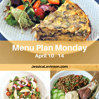 Nutritioulicious Menu Plan Monday week of April 10, 2017, including Baked Mushroom Leek Frittata and Spinach Pear Salad with Goat Cheese @jlevinsonrd, and Citrus Lamb Power Bowls @kissinthekitchn.