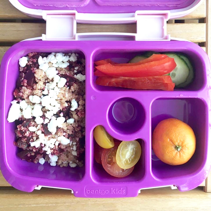 Beet and Goat Cheese Quinoa Salad is a simple pairing for a quick and easy lunch. A great lunchbox option for meat-free and nut-free schools. Get the vegetarian, gluten-free, and nut-free recipe @jlevinsonrd.