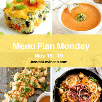 Menu Plan Monday week of May 15, 2017, including Southwestern Cauliflower Rice Casserole, Tomato White Bean Soup, Thai Peanut Chicken @jlevinson, and Crispy Rhubarb Lemon Chicken Bake @cottercrunch
