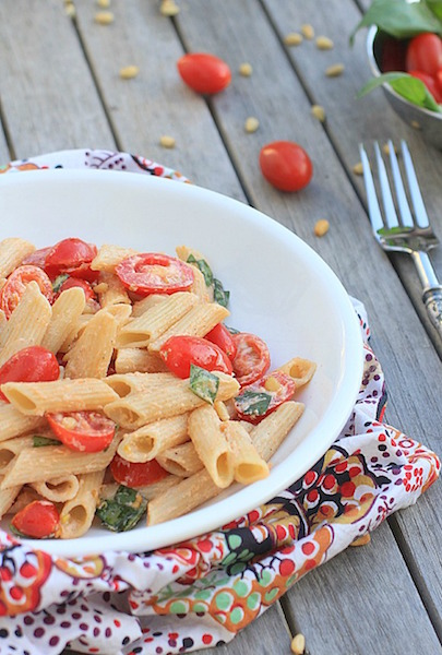 Simple Pasta Salad with Tomatoes, Basil, and Fresh Ricotta - healthy Memorial Day recipes