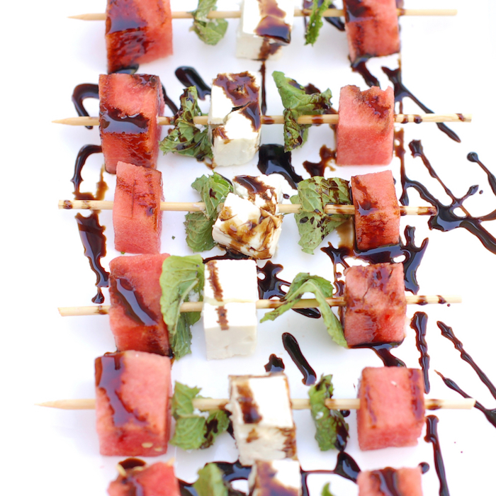 Watermelon, Feta, and Mint Skewers - healthy Memorial Day recipes @jlevinsonrd