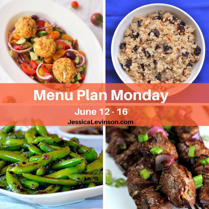 Menu Plan Monday, June 12, 2017 featuring Zucchini Chickpea Balls @rwallace4, Grilled Snap Peas @puregracefarms, Easy Asian Beef Skewers @spendpennies, and Spiced Plum Cauliflower Rice @jlevinsonrd.