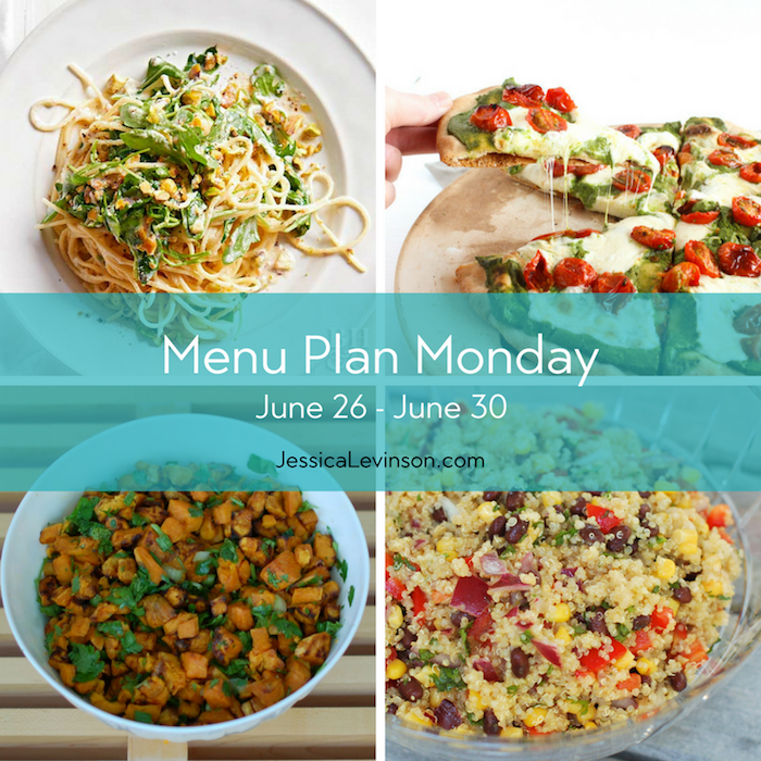 Menu Plan Monday, week of June 26, 2017, featuring Ricotta Spaghetti with Arugula and asparagus @bhg, Rosemary-Roasted Tomato Pesto Pizza, Corn & Black Bean Quinoa Salad, and Sweet Potato Salad @jlevinsonrd.