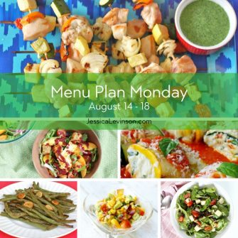 Menu Plan Monday week of August 14, 2017 including Summer Chicken Kebabs with Herb Sauce, Peach Panzanella Salad, Zucchini Lasagna Roll Ups, Garlicky Green Beans, Nectarine Salsa, and Spinach Salad with Jicama and Black Beans. Get the menu @jlevinsonrd.