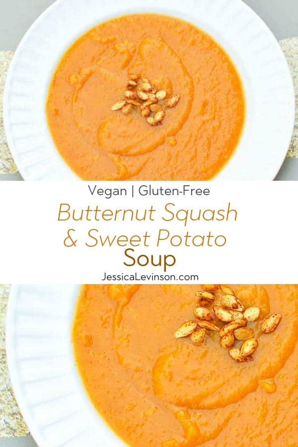 Butternut Squash and Sweet Potato Soup Recipe with Text Overlay