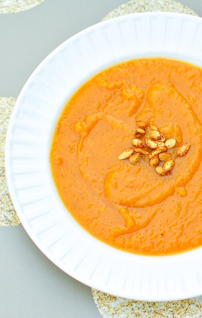 Close Up of Butternut Squash and Sweet Potato Soup