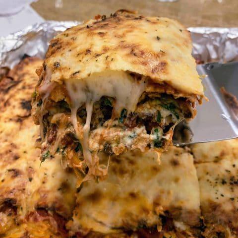 piece of vegetable matzo lasagna