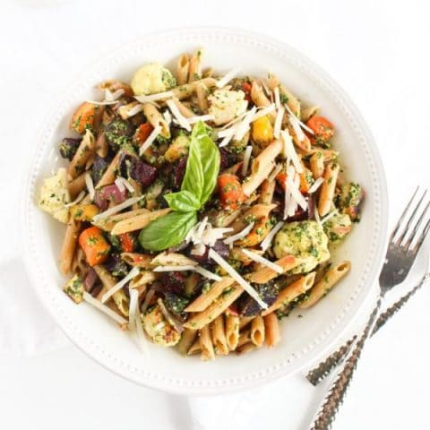 Fall Roasted Root Vegetable Pasta with Pesto