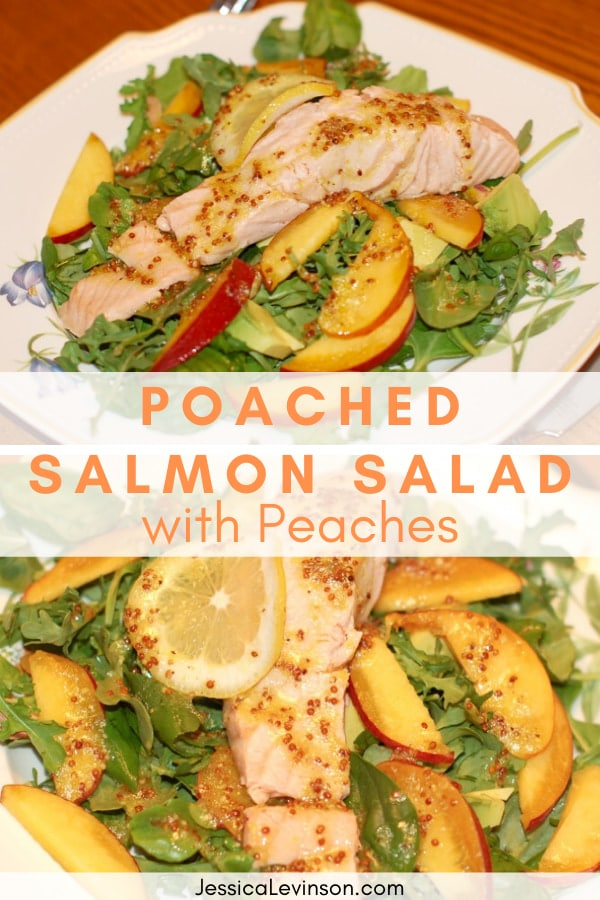 poached salmon salad with peaches pin image
