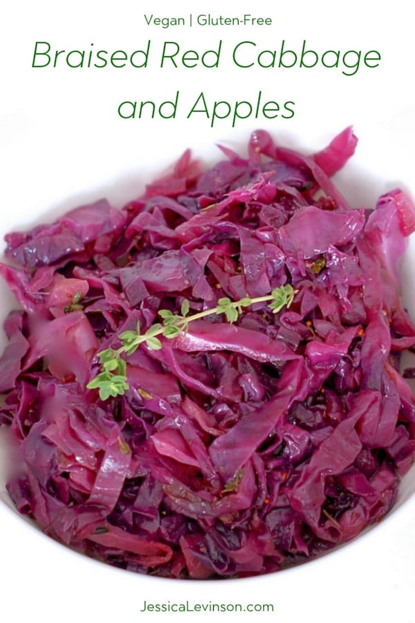 braised red cabbage and apples pinnable image
