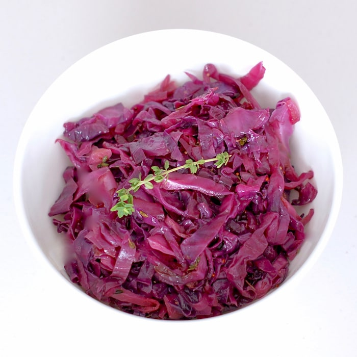overhead of braised red cabbage in serving bowl