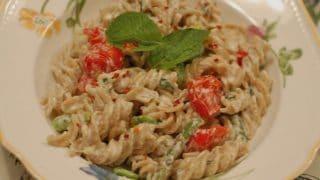 Fusilli with Fava Beans, Roasted Asparagus, Ricotta, & Mint