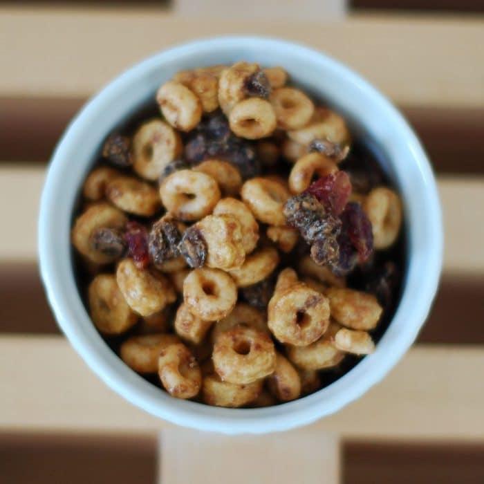 Overhead Peanut Butter Trail Mix Recipe in Dish