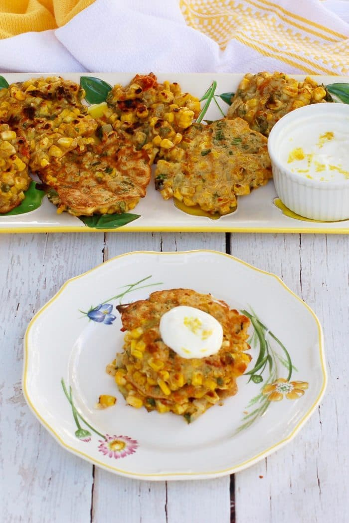 Corn & Basil Cakes Topped with Sauce