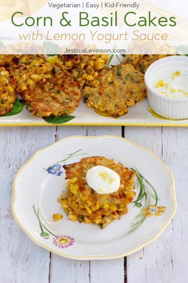 Corn & Basil Cakes with Text Overlay