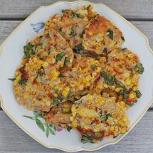 Savory corn & basil cakes are a great vegetarian side dish or main dish. Serve with a light and tangy Lemon Yogurt Sauce. Grill them during the summer or make them inside all year round! Get the vegetarian recipe @jlevinsonrd.