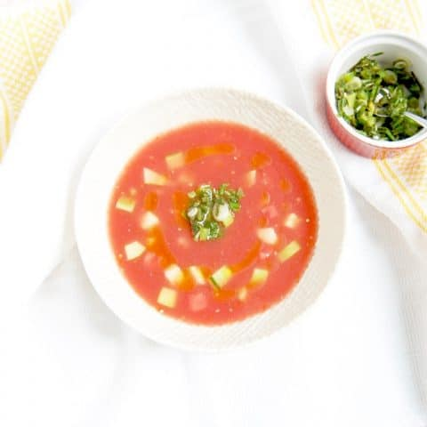 Enjoy the best flavors of summer by the spoonful with this Watermelon Tomato Gazpacho, a sweet and savory twist on the classic summer soup. Get the gluten-free and vegan recipe @jlevinsonrd.