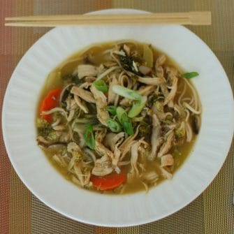Chicken Vegetable Udon Soup in White Bowl
