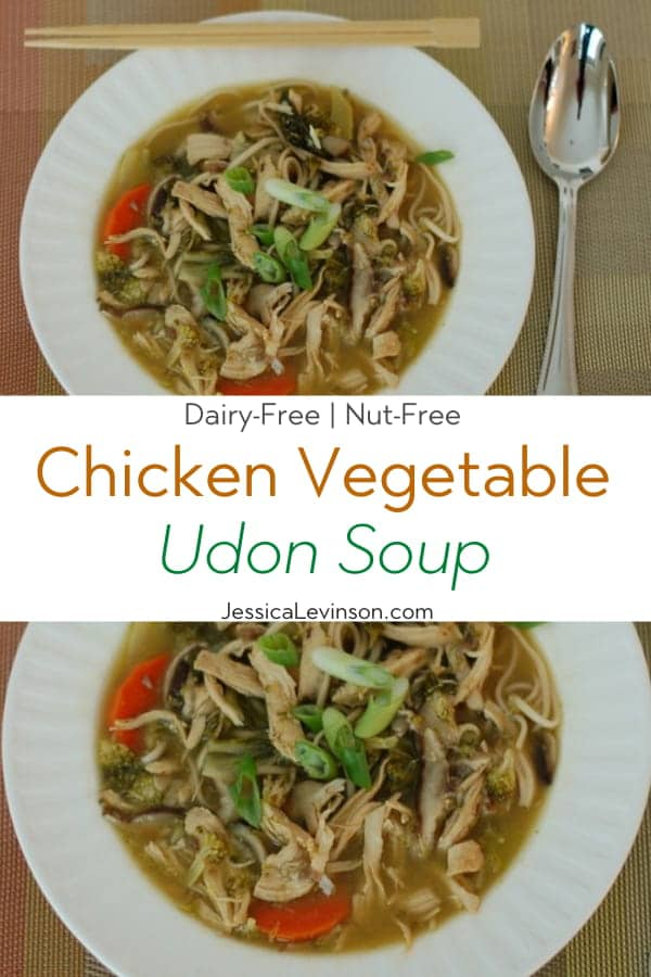 Chicken Vegetable Udon Soup Collage with Text Overlay