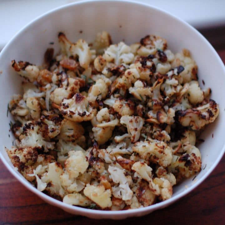 Rosemary-Roasted Cauliflower with Raisins