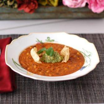 Vegan Corn Tortilla Soup in Bowl
