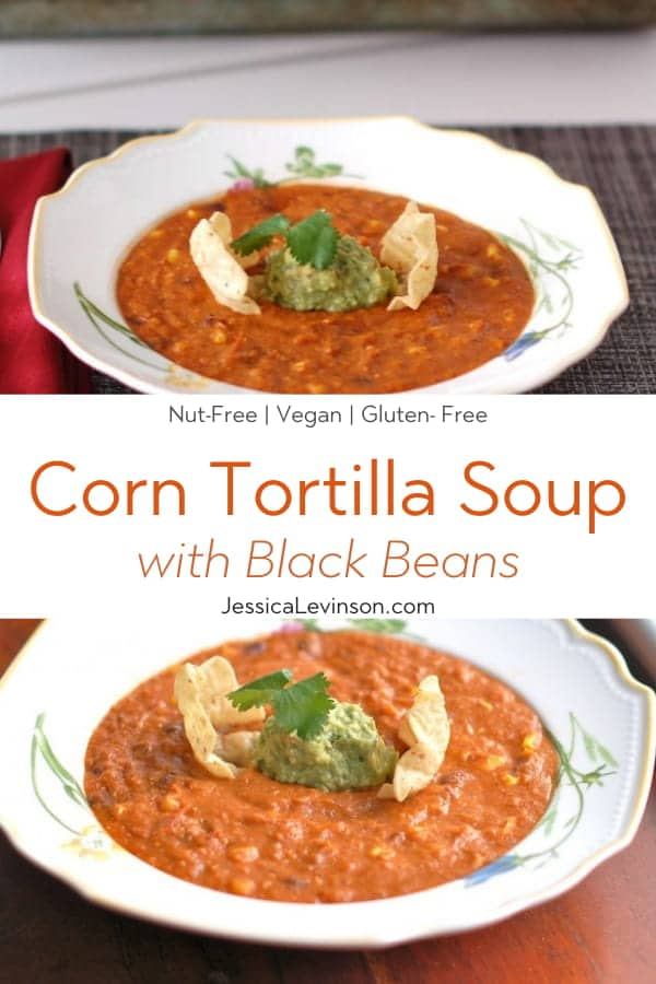 Vegan Corn Tortilla Soup Collage with Text