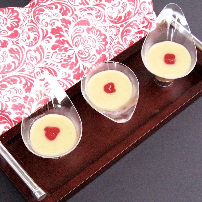 appetizer bowls of parsnip soup on tray