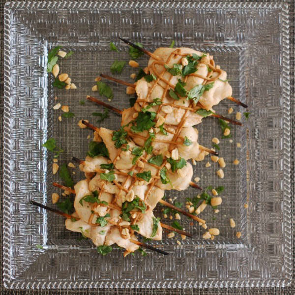 Thai Peanut Chicken Satay Overhead on Plate